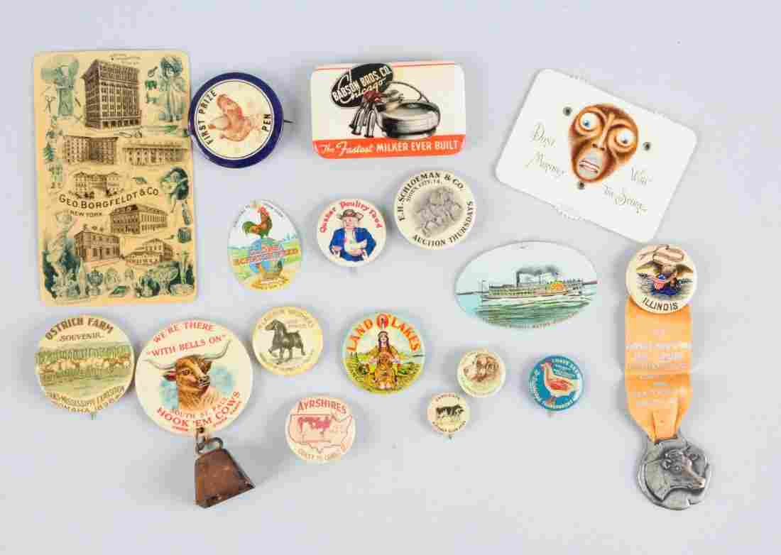 Lot of 17: Agriculture Related Adv. Pinbacks.
