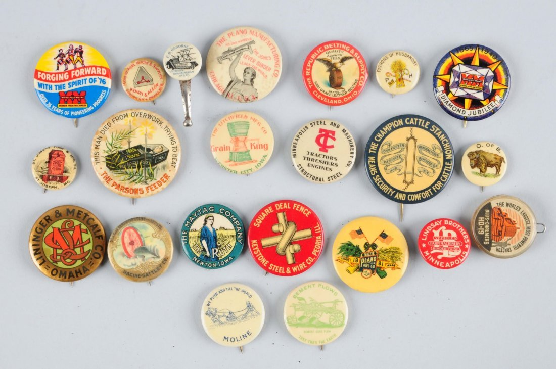 Lot of 22: Agriculture Related Adv. Pinbacks.