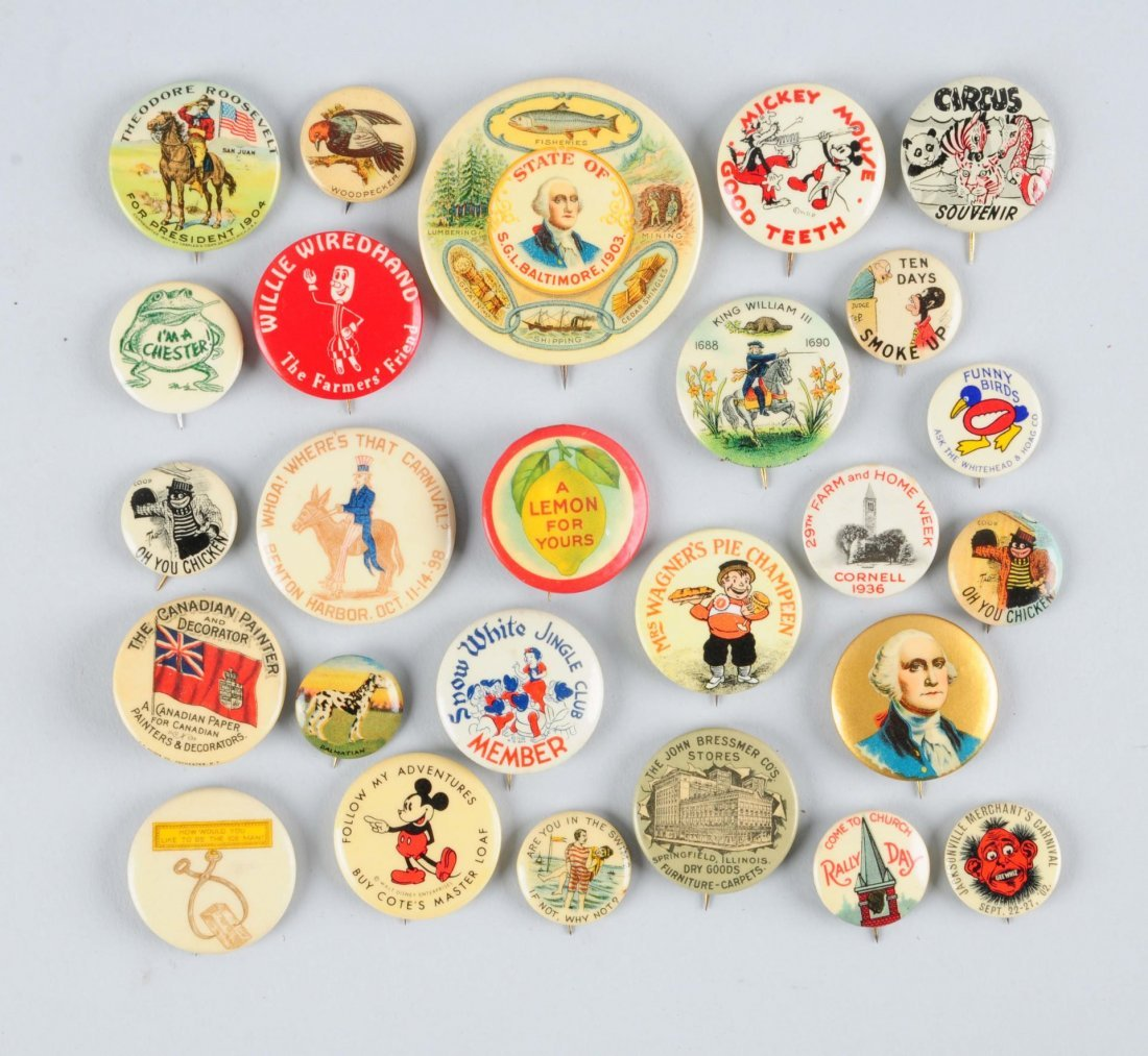 Lot of 28: Assorted Celluloid Advertising Pins.
