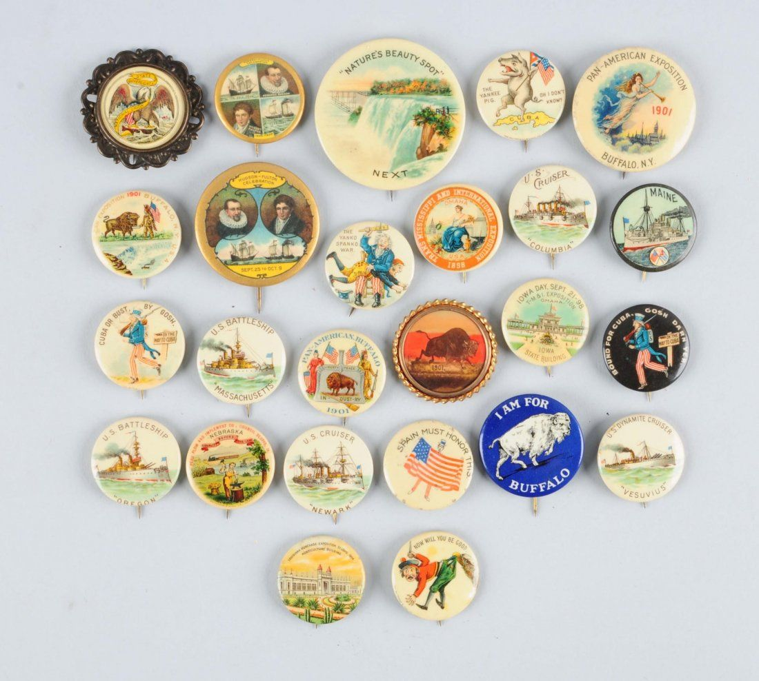Lot of 25: Assorted Celluloid Pinbacks.