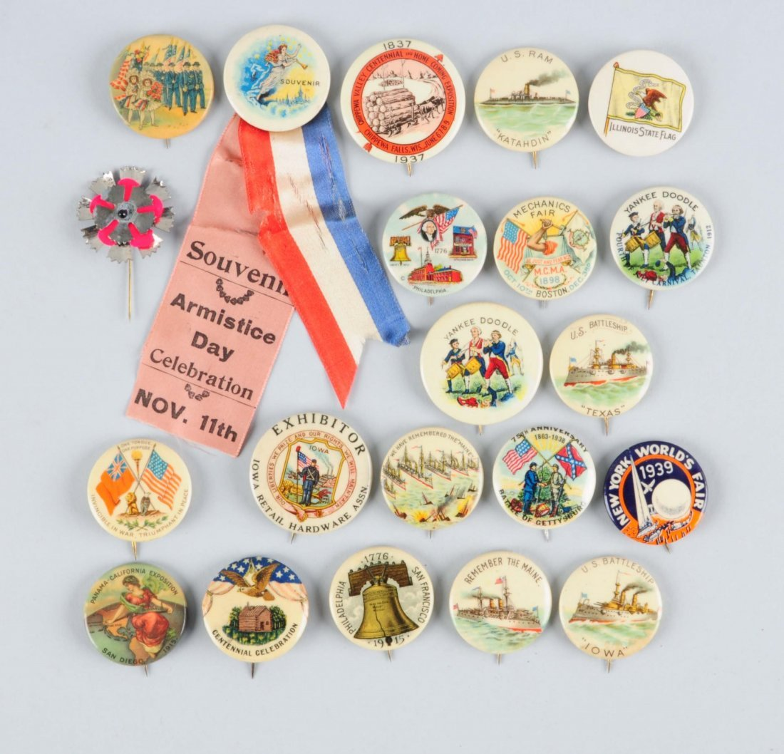 Lot of 21: Assorted Celluloid Adv. Pinbacks.