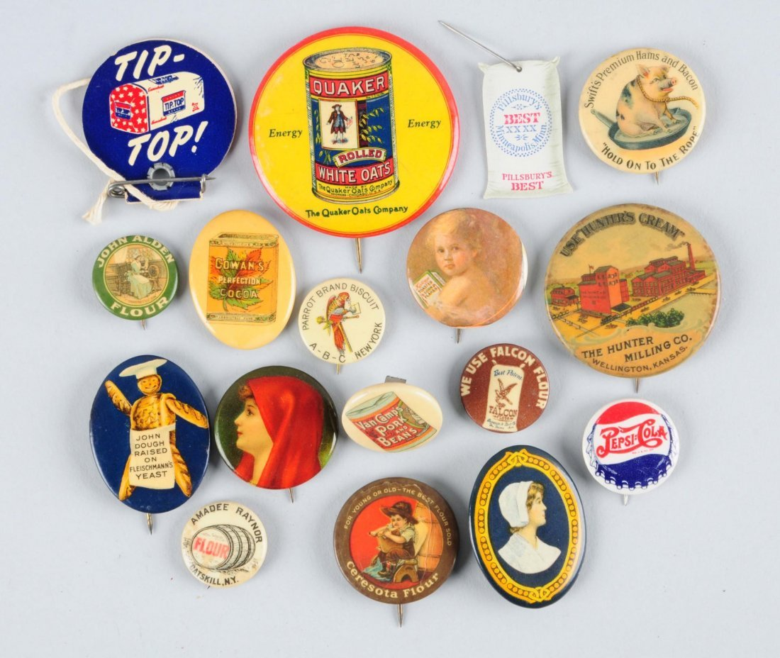 Lot of 17: Assorted Flour Related Pinbacks.