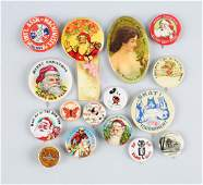 Lot of 16: Assorted Celluloid Pinbacks & Mirror.