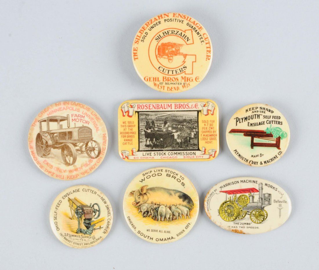 Lot of 7: Celluloid Advertising Pocket Mirrors.