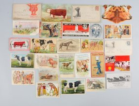 Asstd Lot Of Agriculture Envelopes & Trade Cards.