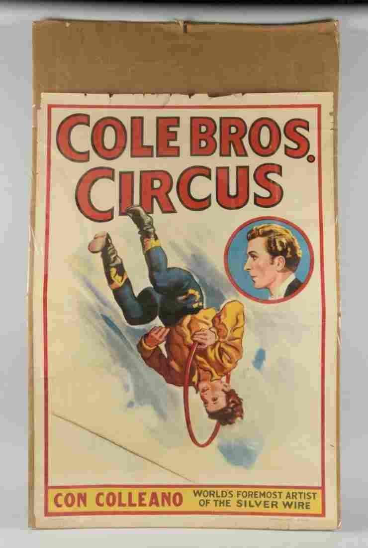 Cole Bros. Circus Advertising Poster.
