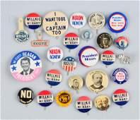 Lot of 10+: Political Pin Backs.