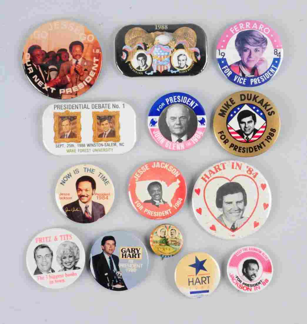 Lot of 12: Political Pin Backs.