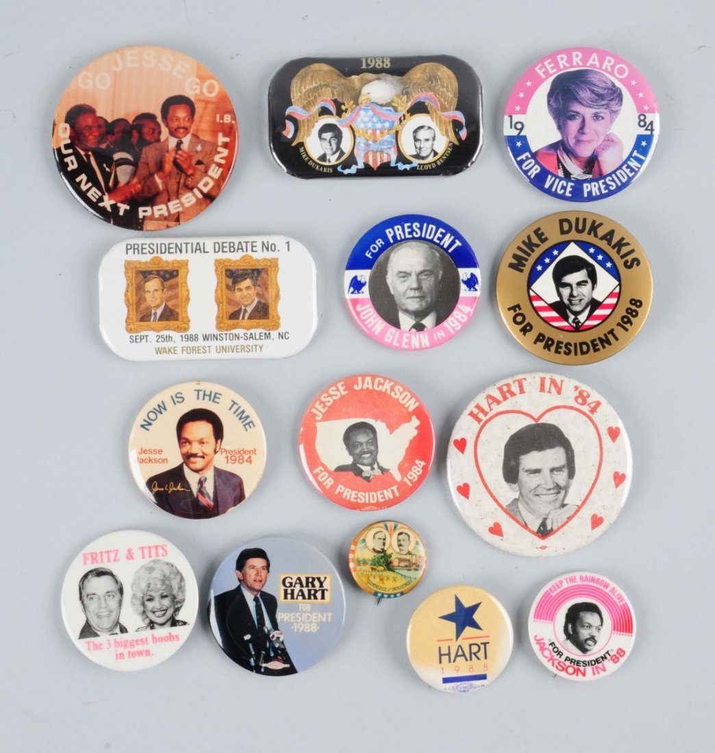 Lot of 12: Political Pin Backs.