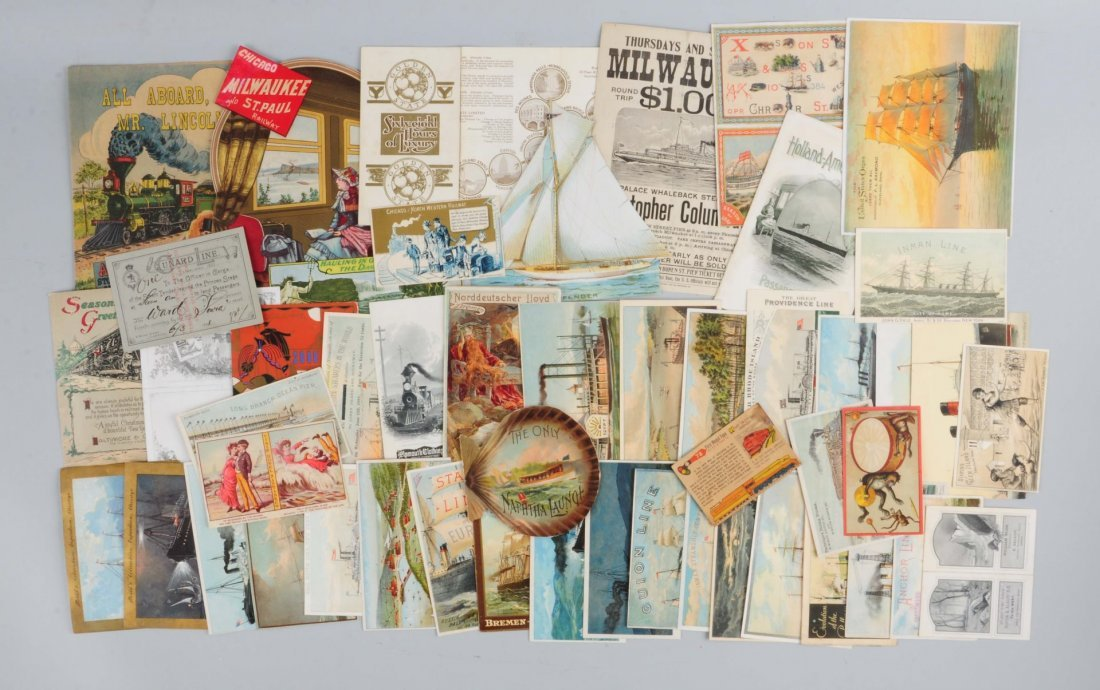 Lot of 20+: Shipping Trade Cards & Brochures.