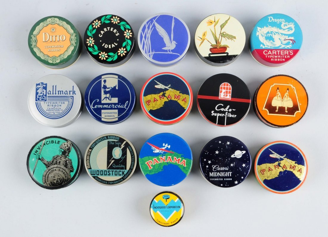 Lot Of 16: Typewriter Ribbon Tins.