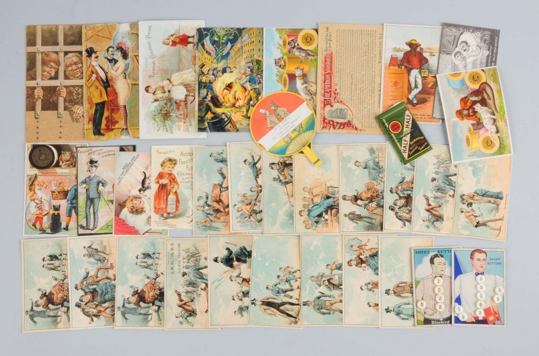 Lot of 20+: Agriculture & Clothing Trade Cards.