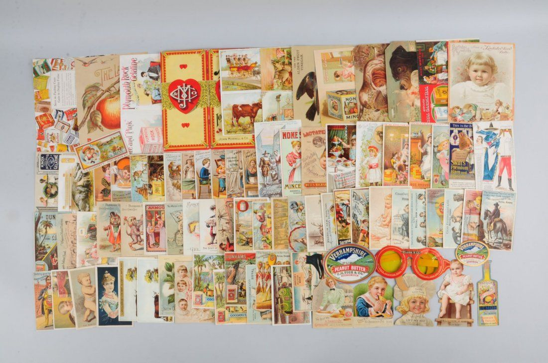 Lot of 30+: Food Related Advertising Trade Cards.