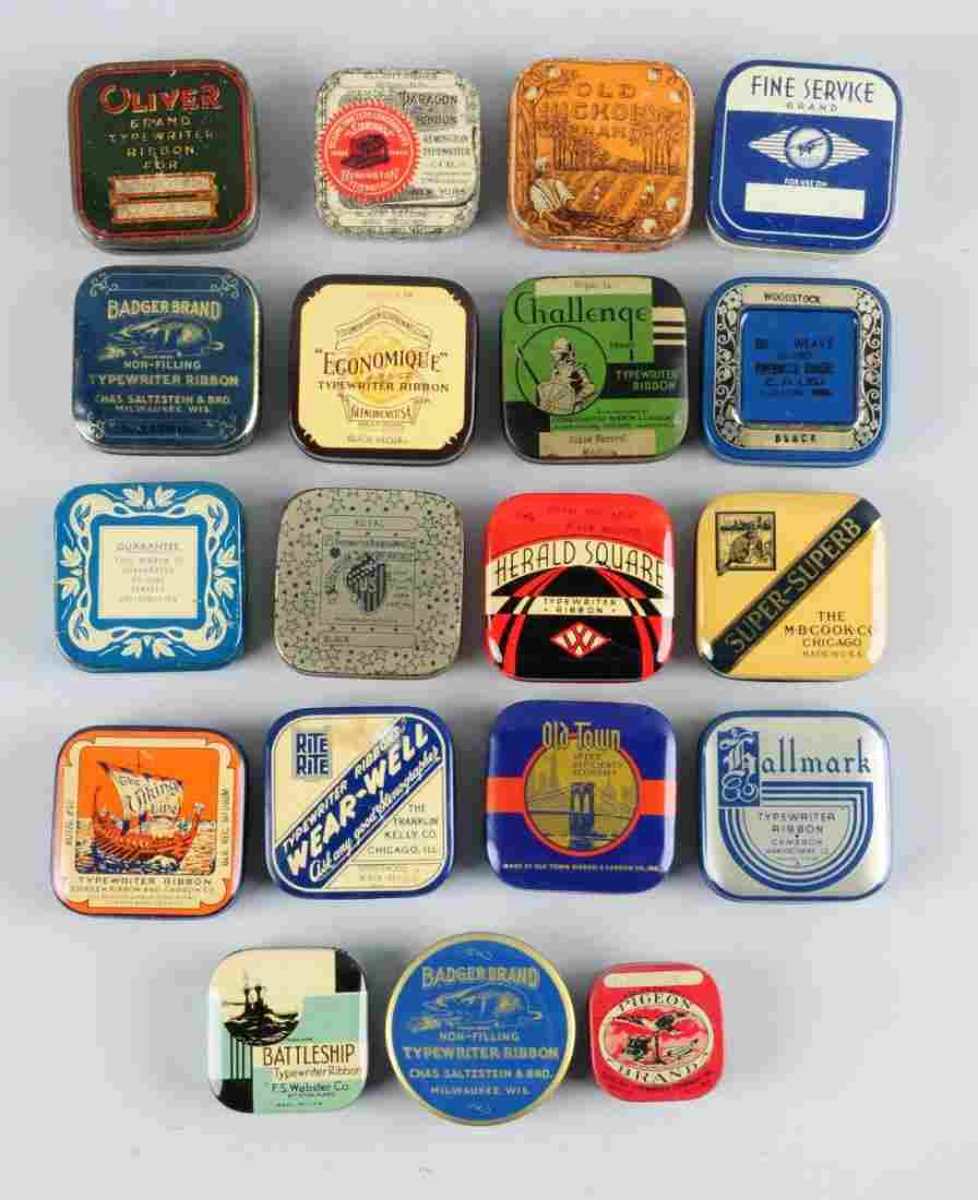 Lot of 19: Assorted Early Typewriter Ribbon Tins.
