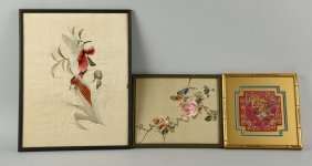 Lot Of 3: Japanese Silk Embroidered Pictures.