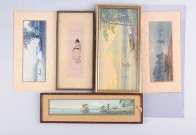 Lot Of 5: Japanese Watercolor Paintings.