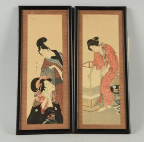 Lot Of 2: Framed Japanese Woodblock Prints.