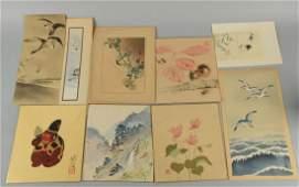Lot Of 9 Japanese Woodblock Prints