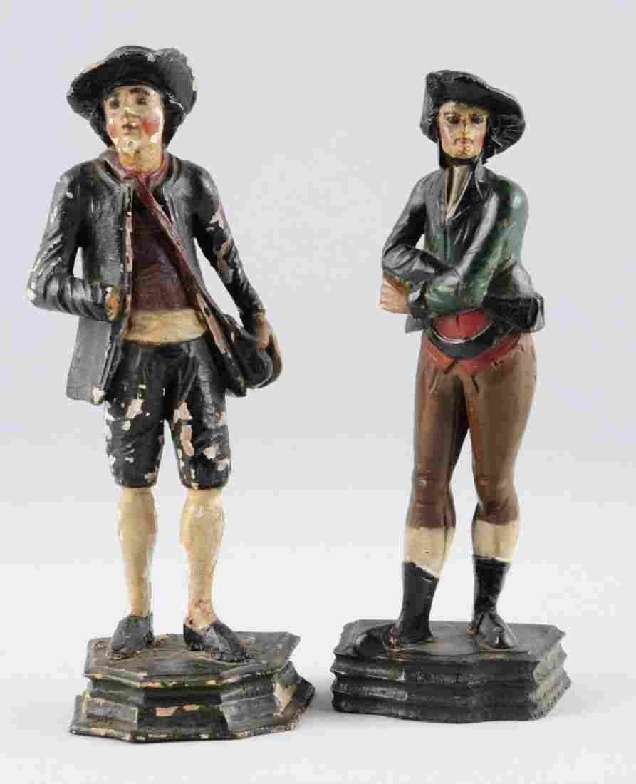Lot Of 2: 19th Century Wooden Carved Figurines.