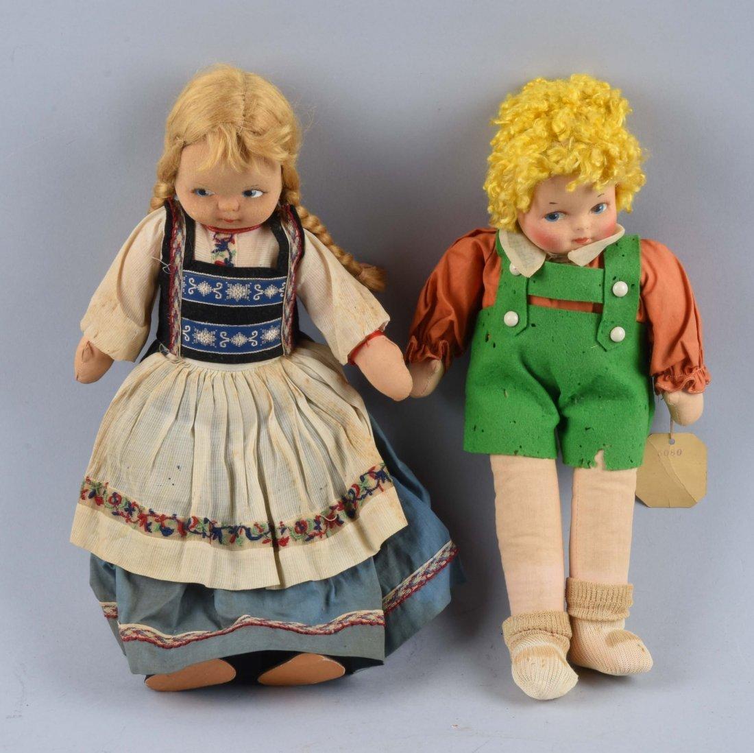 Lot Of 2: Vintage Cloth Dolls.