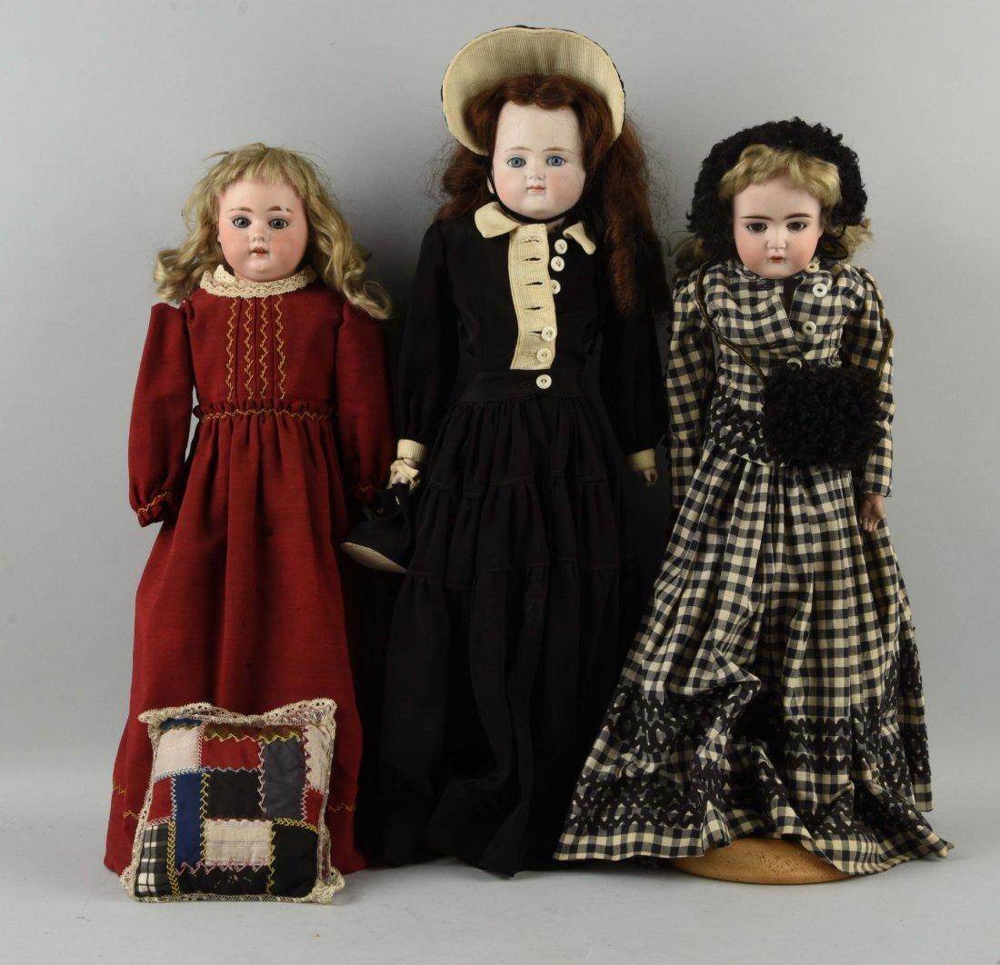 Lot of 3: Ant. German Bisque Shoulder-Head Dolls.