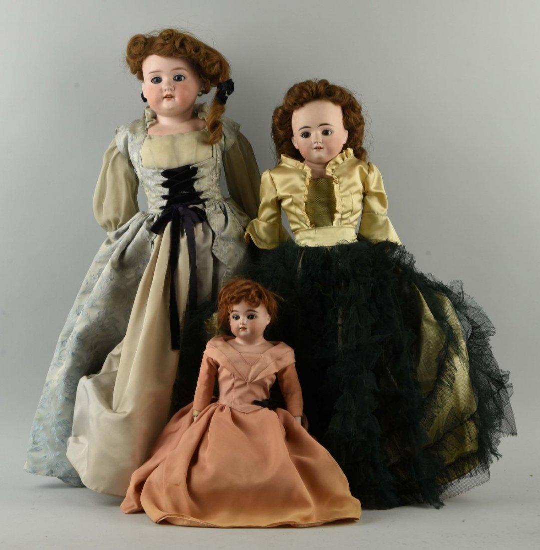 Lot of 3: Ant. German Bisque Shoulder Head Dolls.
