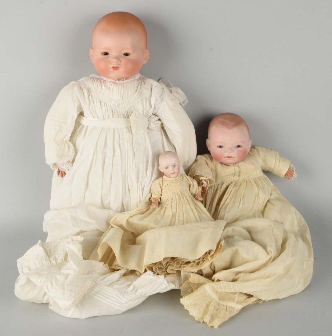 Lot Of 3: Antique German Bisque Head Baby Dolls.