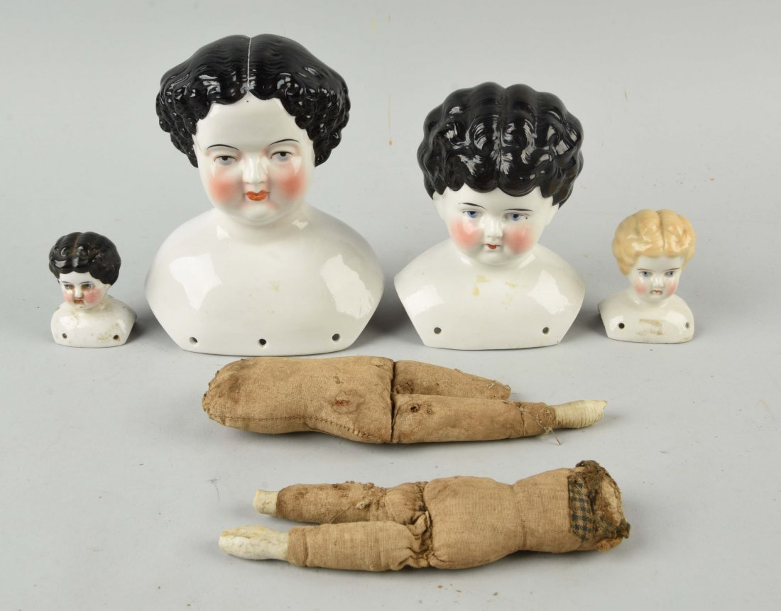 Lot of 6: Antique China Doll Heads & Bodies.