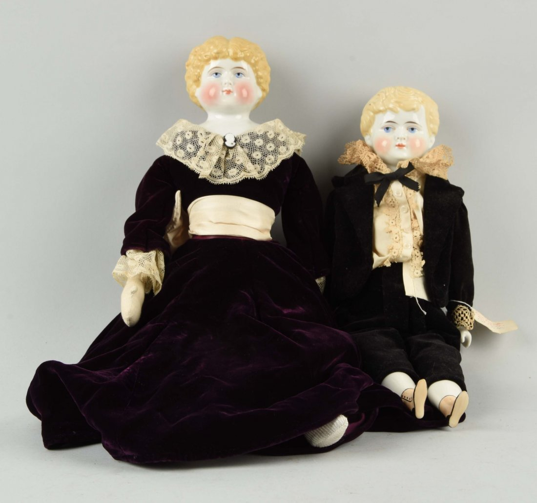 Lot of 2: Antique Blonde China Head Dolls.
