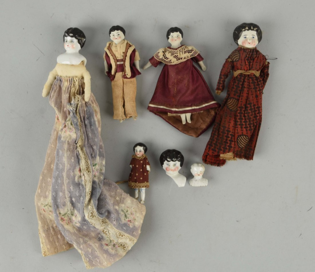 Lot of 7: Antique China Dolls & Heads.