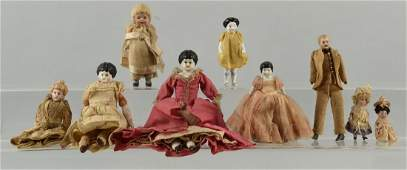 Lot of 9: Antique Bisque & China Dolls.