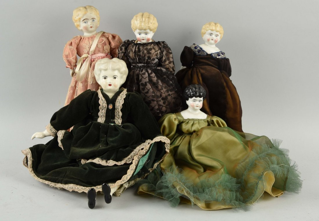 Lot of 5: Antique China Head Dolls.
