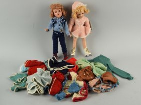 Lot Of 2: Vintage Mary Hoyer Dolls With Wardrobe.