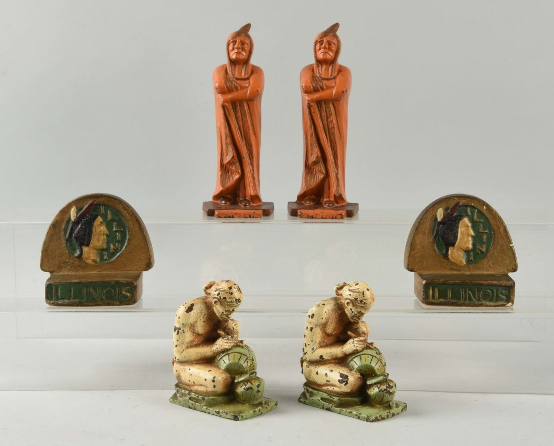 Lot of 3: Pairs of Cast Iron Indian Bookends.