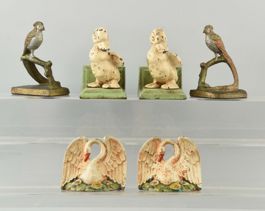 Lot of 3: Pairs of Cast Iron Bird Bookends.
