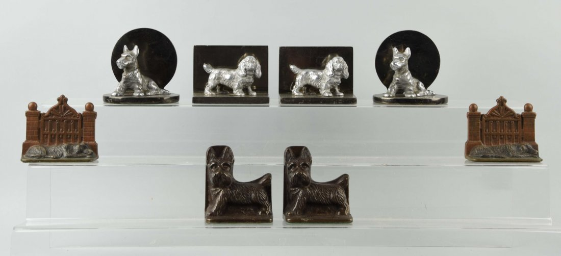 Lot of 4: Pairs of Cast Iron Assorted Dog Bookends