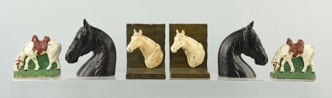 Lot of 3: Pairs of Cast Iron Horse Bookends.
