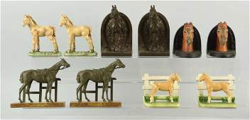 Lot of 5: Pairs of Cast Iron Horse Bookends.