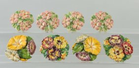Lot Of 4: Pairs Of C.i. Floral Curtain Tie-backs.