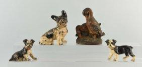 Lot Of 4: Cast Iron Assorted Dog & Duck Doorstops.
