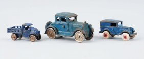 Lot Of 3: Small Blue Cast Iron Vehicles.