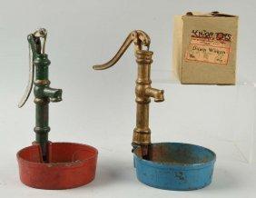 Lot Of 3: Two Cast Iron Pumps & Empty Kenton Box.