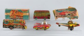 Lot Of 4: Made In India Tin Lithographed Toys.