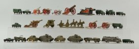 Lot Of 26 Diecast Military Vehicles & Toy Cannons.