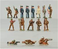 Lot of 16 Manoil Dimestore Soldiers