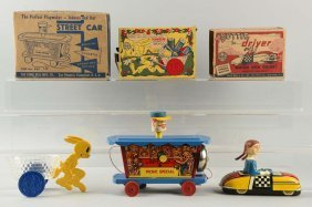Lot Of 3: American Tin & Plastic Vehicle Toys.