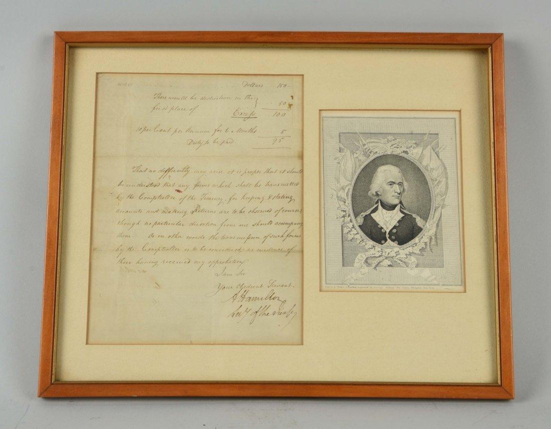 Framed Letter of Treasury Department.