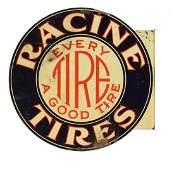 Racine Tires Tin Diecut Flange Sign.