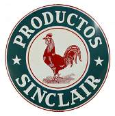 Sinclair Productos w/ Rooster Logo Porcelain Sign.
