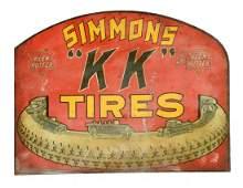 """Keen Kutter Simmons """"KK"""" Tires Diecut Flange Sign."""